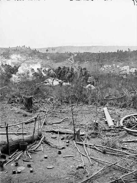 "Stereograph from the Panorama of the Battle of Missionary Ridge, Colonel Randall L. Gibson and 13th Georgia Regiment, painted in 1885. It was painted by Eugen Bracht's Berlin-based panorama company and first exhibited in Kansas City in 1886. It was destroyed by a tornado in Nashville, Tennessee.  From Bennett's series ""Wanderings Among the Wonders and Beauties of Western Scenery."""