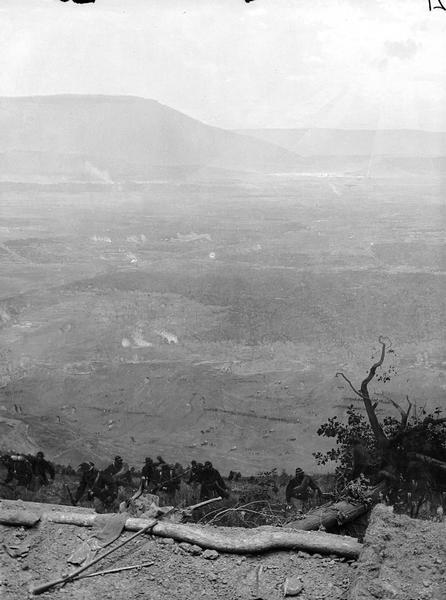 "Stereograph from the Panorama of the Battle of Missionary Ridge, Valley of the Tennessee Lookout Mountain in the Distance, painted in 1885. It was painted by Eugen Bracht's Berlin-based panorama company and first exhibited in Kansas City in 1886. It was destroyed by a tornado in Nashville, Tennessee.  From Bennett's series ""Wanderings Among the Wonders and Beauties of Western Scenery."""
