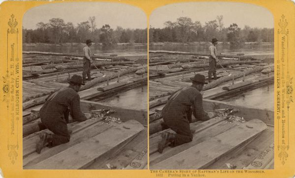"Stereograph view of a man putting in a ""Yankee"" while another man is chopping a log with an axe."