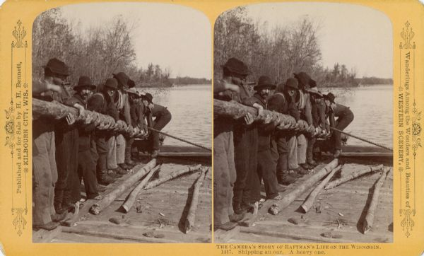 Stereograph of raftsmen shipping an oar.