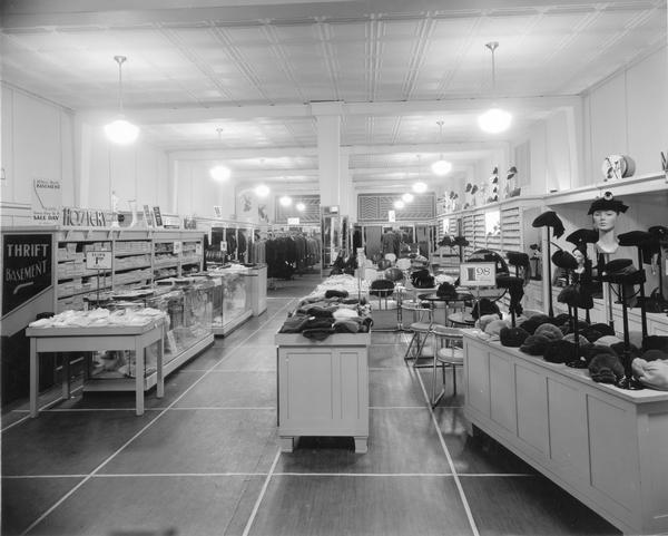 The interior of Miller's store in the hat section.