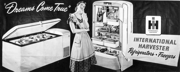 Advertisement for International Harvester refrigerators and freezers. Depicts a woman wearing an apron over a dress standing near a freezer and refrigerator.