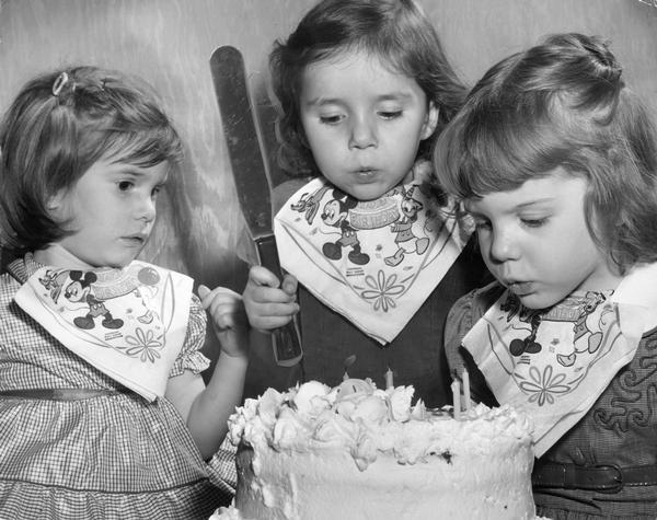 Swell Triplets With Birthday Cake Photograph Wisconsin Historical Funny Birthday Cards Online Hetedamsfinfo