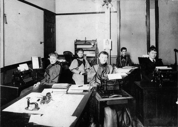 Stenographers at the law firm of Winkler, Flanders, Smith, Bottum, & Vilas.