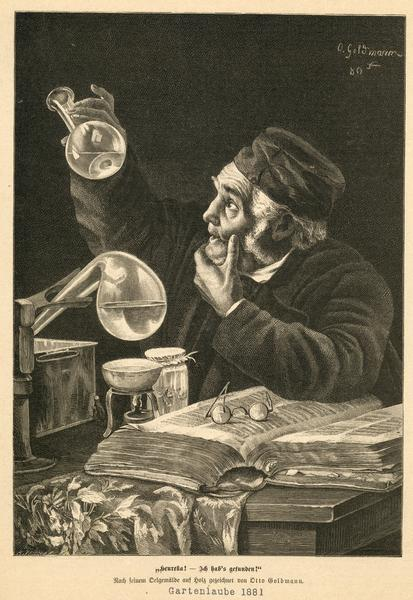 "Illustration of a scientist in his lab gazing at a test tube, with a caption in German that translates to ""Eureka! I have found it!""."