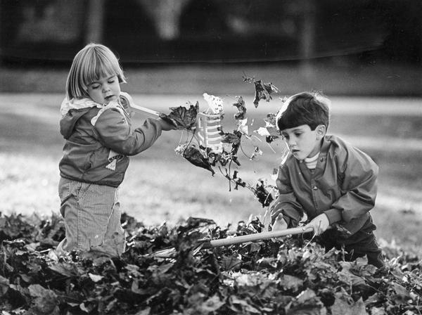 Young boy and girl make the autumn chore of leaf-raking fun.