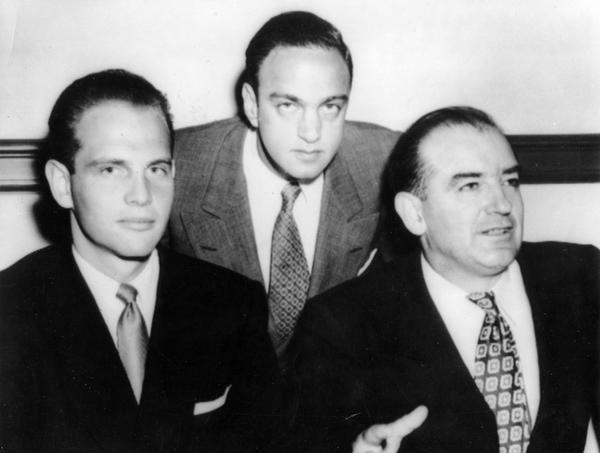Senator Joseph R. McCarthy with G. David Schine and Roy M. Cohn.