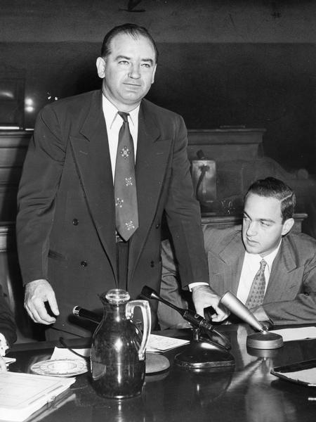 Joseph (Joe) McCarthy is seen here with his chief counsel, Roy Cohn, whom he hired on the advice of J. Edgar Hoover.