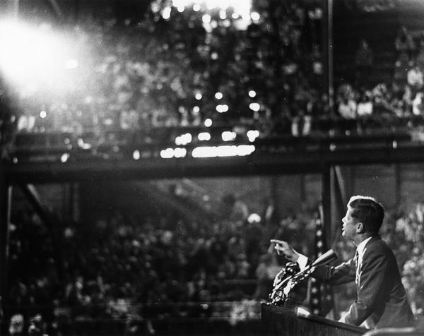 A campaign speech by presidential candidate John F. Kennedy at the University of Wisconsin-Madison Field House.