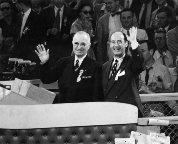 The Democratic convention, with Harry S. Truman and Adlai Stevenson standing at a podium.
