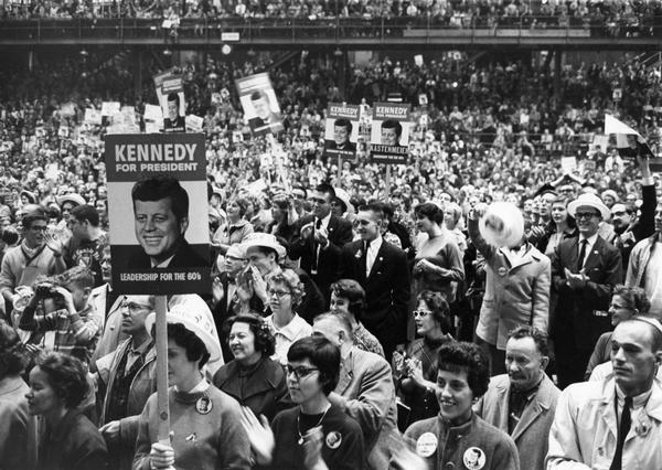 View of audience at a rally for John F. Kennedy for president.