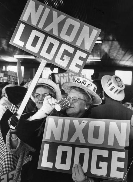 Campaigners for the 1960 Republican ticket of Richard M. Nixon for president and Henry Cabot Lodge for vice-president.
