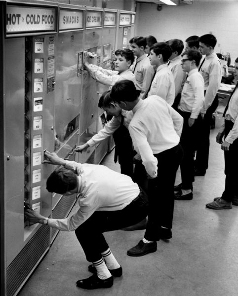 High school freshman use vending machines for lunch.