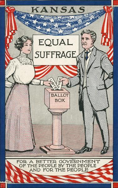 "Postcard with a man and woman putting their vote into a ballot box, touting equal suffrage: ""For a better government of the people, by the people, and for the people."""