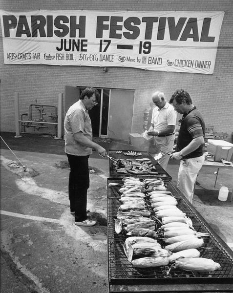 St. Dominic's Catholic Parish members tend the grills at their annual festival.