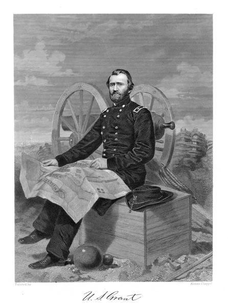 An engraving from a photograph of Ulysses S. Grant wearing a military uniform. He is seated in front of a cannon with a map unfolded in his lap, and cannon balls at his feet.