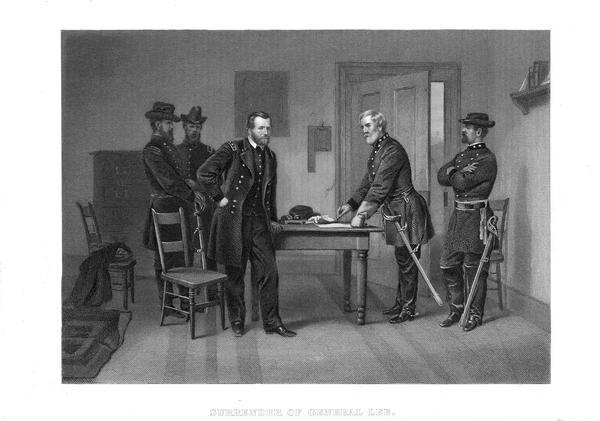 An engraving from a painting of Robert E. Lee signing the document that would end the war between the states in the presence of Ulysses S. Grant and their aides at Appomattox.