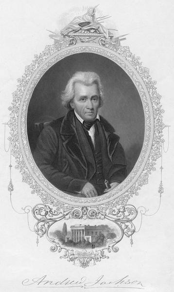 Portrait engraving of Andrew Jackson with small inset of his home, The Hermitage, near Nashville, Tennessee.