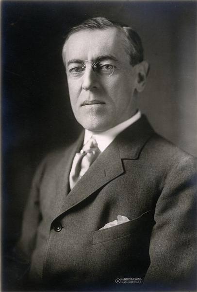 Quarter-length portrait of Woodrow Wilson taken early in his first term as president.