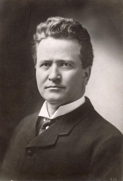 Portrait of Robert M. La Follette, Sr. when he became governor of Wisconsin. This original of this item is a postcard that was probably used for campaign publicity.