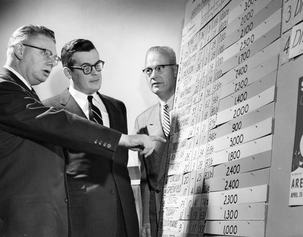 Men looking over charts at a Boy Scout circus ticket sales meeting.