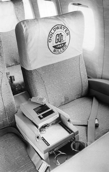 The seats designated for Senator and Mrs. Goldwater on an airplane, during the 1964 presidential campaign.  He and running mate, William Miller went on to lose to Democrats Lyndon Johnson and Hubert Humphrey.