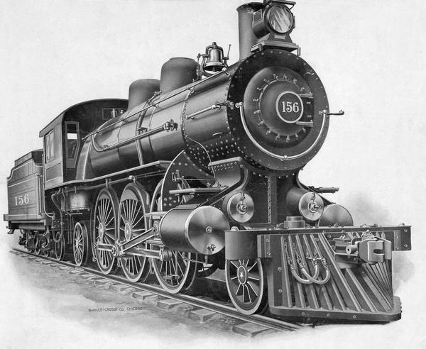 "Depiction of the ""modern"" locomotive at the beginning of the 20th century."