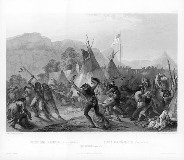 Indians fighting at Fort Mackenzie (Montana).