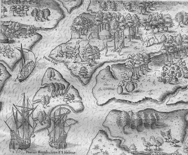 Scene from the Laudonnière Expedition in South Carolina, ca. 1564.