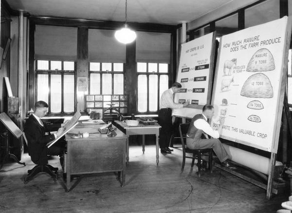 Three graphic artists inside the Chart Room of International Harvester's Agricultural Extension Department at 616 S. Michigan Avenue. The men are illustrating charts on hay crops and manure production.