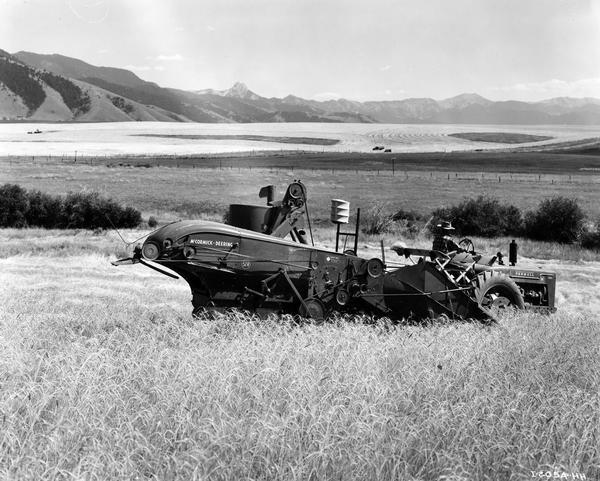 Farmer Paul Eblen operating a McCormick-Deering Farmall M tractor with attached McCormick-Deering no. 52-R combine in a 110 acre wheat field. The machines were owned by L.S. Eblen (father) and Paul Eblen (son), who had 1200 acres at the base of the mountains in Gallatin National Forest.
