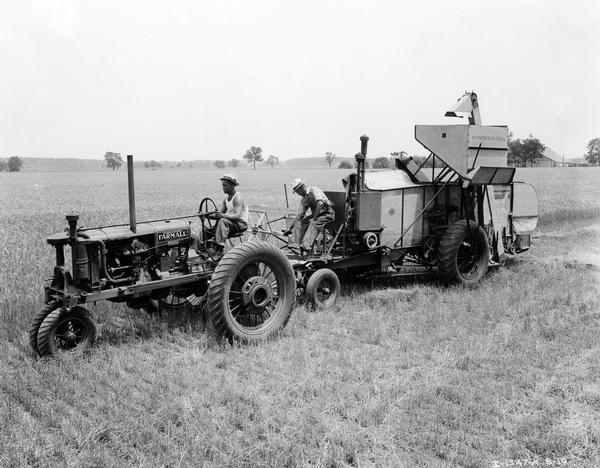 Black White An D Tractor Pulling Wagon : Farmall f tractor and combine in wheat field