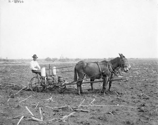 Farmer With Horse Drawn Corn Planter Photograph Wisconsin