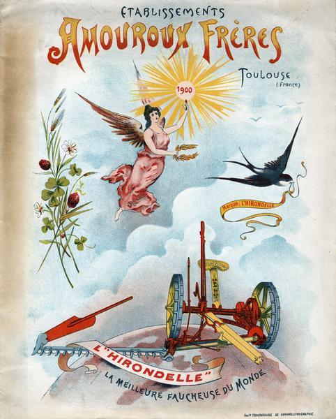 "Cover of French advertising brochure for Amouroux Freres agricultural equipment featuring a color chromolithograph illustration of an angel, bird, flowers and L'Hirondelle mower. The angel is holding a light bearing the year ""1900"" most likely to herald the new century. The Amouroux Freres were headquartered in Toulouse, France."