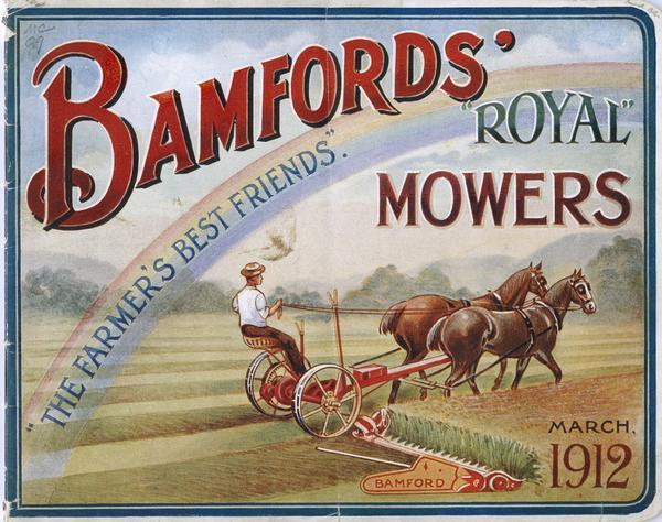 "Cover of an advertising brochure featuring a color illustration of a farmer in a field with a horse-drawn mower, and the words, ""The Farmer's Best Friends."" is overlaid over a rainbow arching over the field."