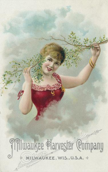 Advertising card for the Milwaukee Harvester Company featuring a chromolithograph illustration of a woman holding a tree branch.