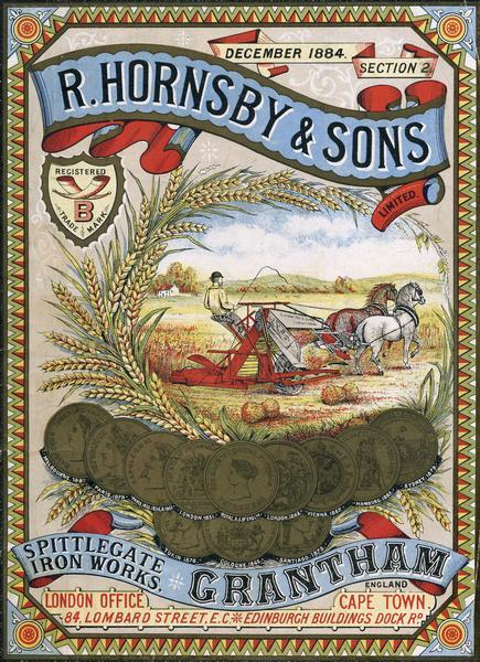 Cover of an advertising brochure for R. Hornsby & Sons, Ltd., manufacturers of agricultural implements. The cover features a color chromolithograph illustration of a farmer in a field with a horse-drawn grain binder. Below the farmer is a display of coins or medals from Melbourne 1881, Paris 1878, London 1851, Turin 1876, etc. Hornsby & Sons products were manufactured at the Spittlegate Iron Works, Grantham, England.