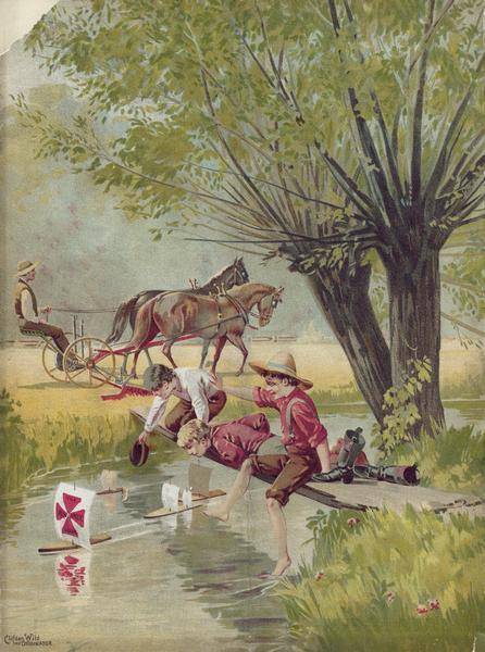 "Back cover of an advertising catalog for the Milwaukee Harvester Company. The cover features a color chromolithograph illustration of young boys racing homemade toy sailboats in a creek, while in a field behind them a man operates a horse-drawn mower pulled by a team of horses. One of the boat's sails bears the Milwaukee Harvester Company logo. Text in the lower left corner reads: ""Clifden Wild, the originator."""