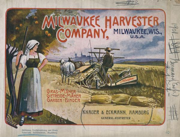 "Cover of a German language advertising catalog for the Milwaukee Harvester Company. The cover's color illustration features a woman with a rake watching a man operate a horse-drawn grain binder. The catalog is imprinted with the name ""Knauer & Eckmann, Hamburg [Germany]."""