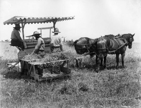 "Men demonstrating the horse-drawn McCormick ""Marsh type"" harvester built ca. 1878. The men are wearing period dress and the photograph was most likely staged as a historical re-enactment - possibly in conjunction with  International Harvester's ""reaper centennial"" celebration. Original caption reads: ""This type of machine was built in McCormick's Reaper Works in Chicago from 1875-1883. An elevator delivered the cut grain to a platform on the side of the machine where it was bound into bundles by hand. Two men could bind the grain as fast as it as cut. With the reapers fo earlier years, a crew of 4 or 5 men was required to do the binding."""