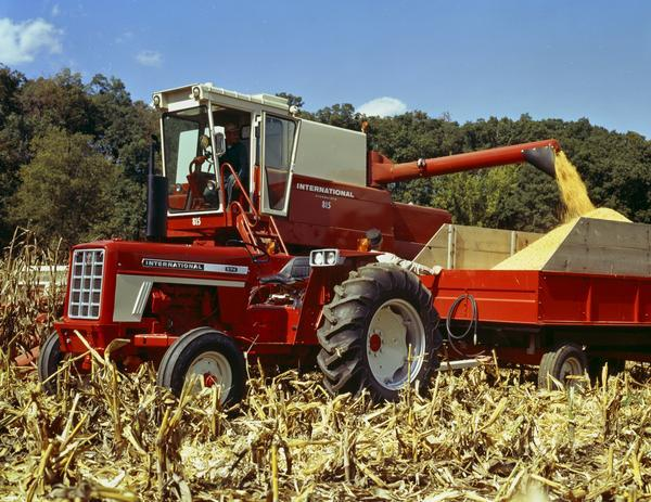 International 815 Combine And 574 Tractor Harvesting Corn