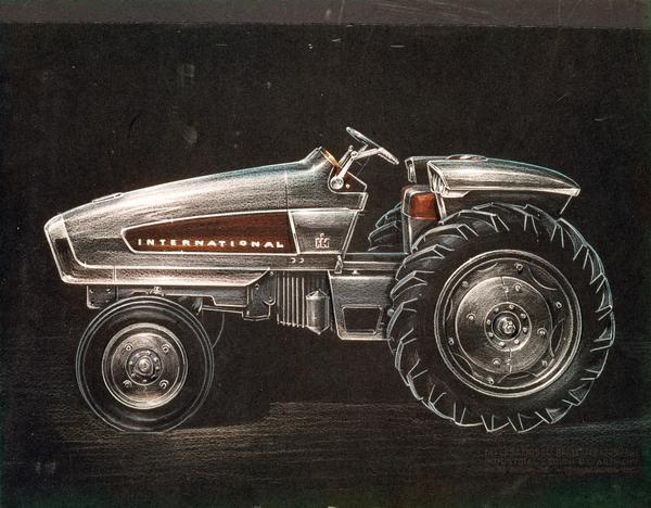 "Industrial artist's color rendering of the experimental International HT 340 hydrostatic-drive gas turbine engine tractor (""future farm machines""). The HT 340 was a concept vehicle used to test new tractor systems."