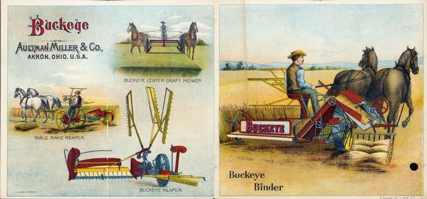Front and back cover of an advertising leaflet for Aultman, Miller and Company. The advertisement includes color illustrations of the horse-drawn Buckeye reaper, grain binder, center draft mower, and table rake reaper.