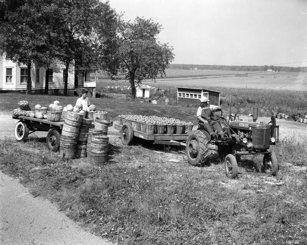 Man pulling a trailer with a Farmall B tractor on the farm of C.H. Meyerling. The trailer is loaded with tomatoes. A young man is standing next to another trailer loaded with pumpkins, squash and other produce.