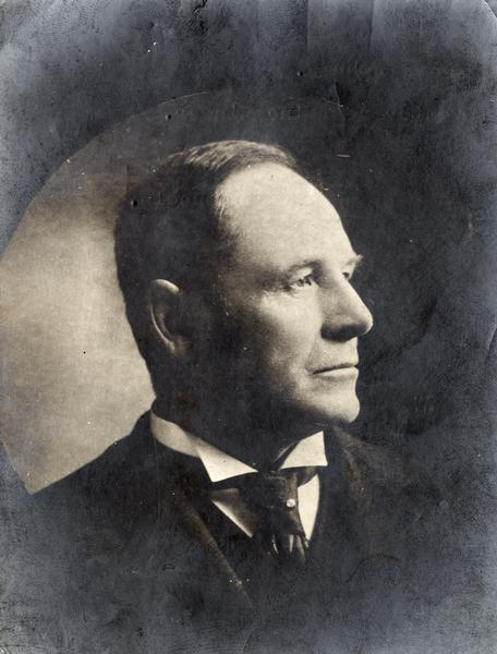 "Portrait of inventor John F. Appleby. The Wisconsin inventor is credited with inventing a knotting mechanism that made twine grain binders possible in the late 1870s. The original caption reads: ""John F. Appleby Inventor of Twine Binder."""