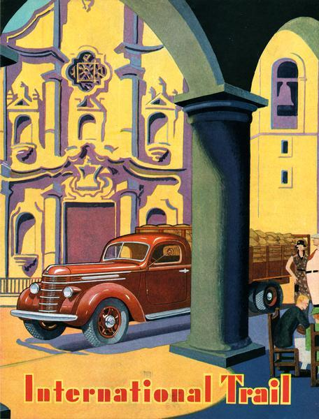 Front cover of <i>International Trail</i> magazine featuring color illustration of International truck in Havana, Cuba. The cover was designed by Havana artist Jose Manuel Acosta, who also supplied an article on his homeland for the magazine.