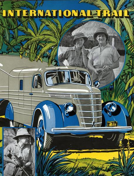 "Front cover of <i>International Trail</i> magazine featuring images of the expedition of Attilio Gatti to the Belgian Congo in Africa. Includes a color illustration of the custom DS-30 truck, popularly referred to as the ""jungle yacht,"" that was used for the expedition."