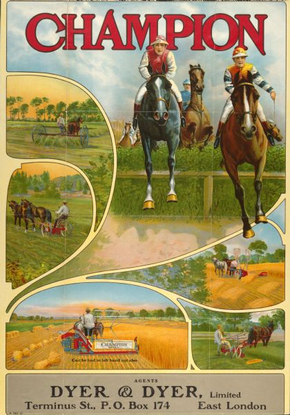 "Advertising poster featuring color illustrations of Champion brand horse-drawn mowers, reapers, grain binders and hay rakes, as well as an illustration of horses and riders jumping over a fence. Imprinted with ""Dyer & Dyer, Limited; Terminus St., P.O. Box 174, East London."""