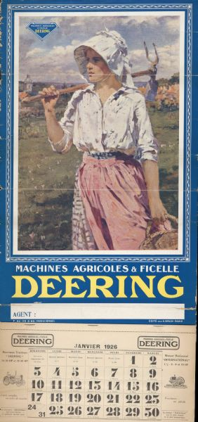 Advertising calendar for Deering brand farm machinery showing a French woman in a field with a basket and tilling tool. Printed by H. Brun, Paris, France.