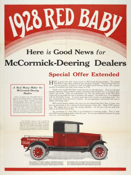 "Advertising poster for the McCormick-Deering ""Red Baby"" farm truck showing a color illustration of the truck with text about a ""special offer"" for McCormick-Deering dealers. Printed for the International Harvester Export Company."